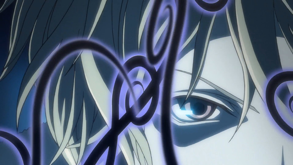 Screenshot from Zetsuen No Tempest episode 2 showing part of Mahiro's face focused on his right eye with a serious look. on his face